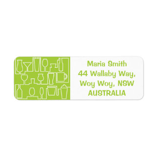 Lime green cocktail party return address label