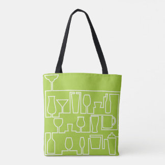 Lime green cocktail party tote bag