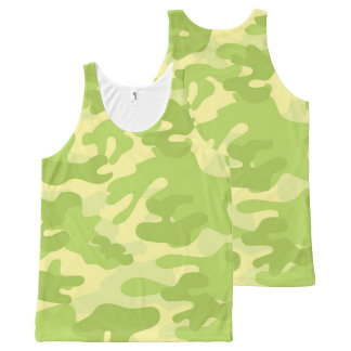 Lime Green Color Camouflage Pattern All-Over-Print Tank Top