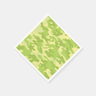 Lime Green Color Camouflage Pattern Disposable Napkins