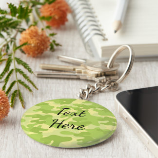 Lime Green Color Camouflage Pattern Keychain