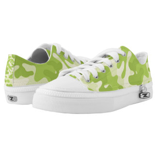 Lime Green Color Camouflage Pattern Low-Top Sneakers
