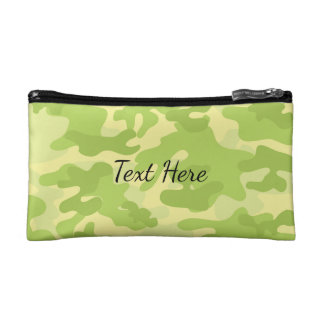 Lime Green Color Camouflage Pattern Makeup Bag