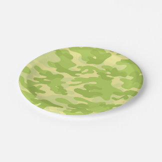 Lime Green Color Camouflage Pattern Paper Plate