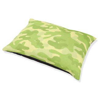Lime Green Color Camouflage Pattern Pet Bed