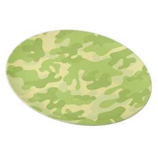 Lime Green Color Camouflage Pattern Plate