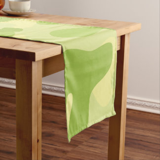 Lime Green Color Camouflage Pattern Short Table Runner