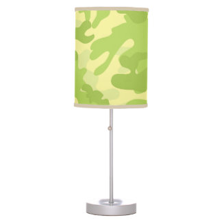 Lime Green Color Camouflage Pattern Table Lamp