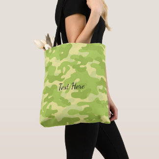 Lime Green Color Camouflage Pattern Tote Bag