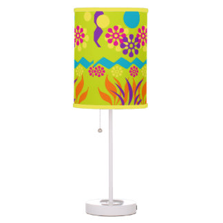 Lime Green Colorful Floral Abstract  Lamp