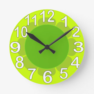 Lime Green country kitchen Round Clock