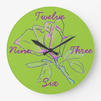 Lime Green Cursive Clock