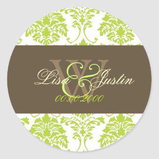 Lime green Damask monogram wedding stickers