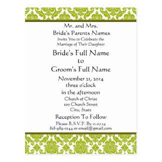 Lime Green Damask on White Wedding Invitation Postcard