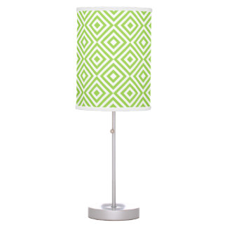 Lime green diamond pattern table lamps