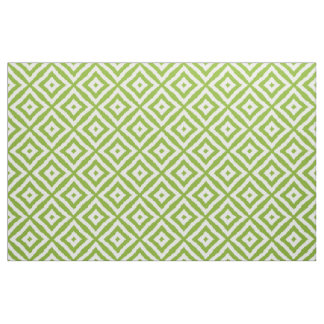 Lime Green Diamond Squares Ikat Mosaic Pattern Fabric