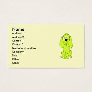 Lime Green Dog. Cute Hound Cartoon. Business Card