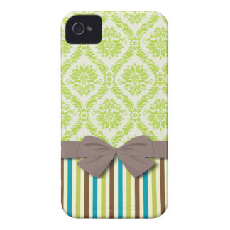 lime green ecru damask modern stripes  pattern iPhone 4 case