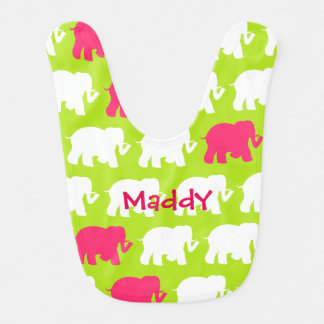 Lime green elephants design baby bib