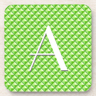 Lime green, enamel look, studded grid coaster