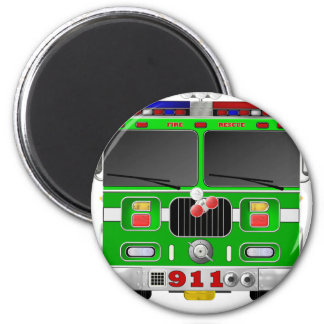 Lime Green Fire Truck 2 Inch Round Magnet