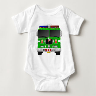 Lime Green Fire Truck Baby Bodysuit