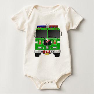 Lime Green Fire Truck Baby Bodysuit