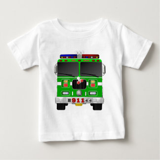 Lime Green Fire Truck Baby T-Shirt