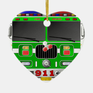 Lime Green Fire Truck Ceramic Ornament