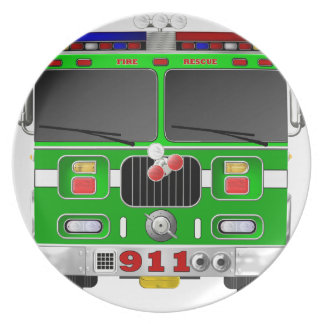Lime Green Fire Truck Party Plates