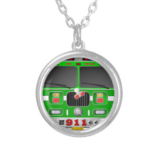 Lime Green Fire Truck Silver Plated Necklace