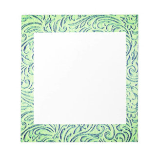 Lime Green Floral Scrollwork Graphic Notepad