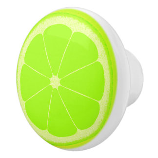 Lime green fruit slice knob handle ceramic knob