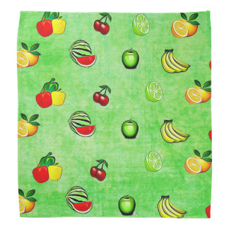 Lime Green Fruits and Vegetables Bandanna