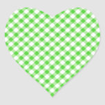 Lime Green Gingham Chequered Patern Heart Sticker