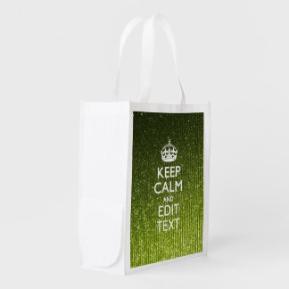 Lime Green Glamour Keep Calm Saying Market Tote