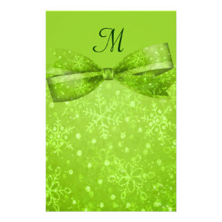 Lime Green & Glitter Shimmer Snowflakes Stationery Design