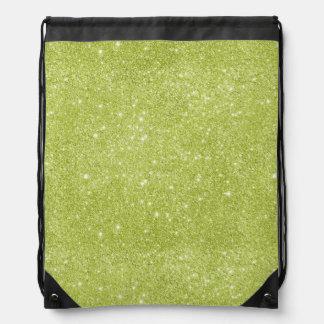 Lime Green Glitter Sparkles Drawstring Bag