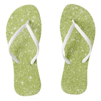Lime Green Glitter Sparkles Flip Flops