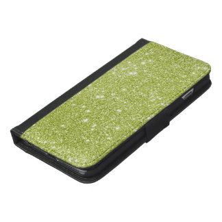 Lime Green Glitter Sparkles iPhone 6/6s Plus Wallet Case