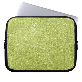 Lime Green Glitter Sparkles Laptop Sleeve