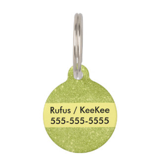 Lime Green Glitter Sparkles Pet Name Tag