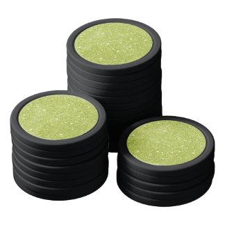 Lime Green Glitter Sparkles Poker Chips
