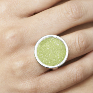 Lime Green Glitter Sparkles Ring