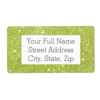 Lime Green Glitter Sparkles Shipping Label