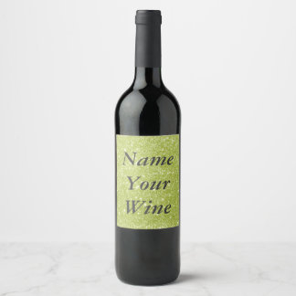 Lime Green Glitter Sparkles Wine Label