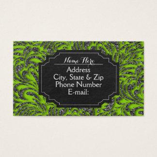 Lime Green Glitter Swirl Chalkboard Business Cards