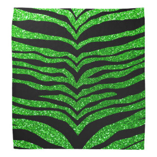 Lime green glitter tiger stripes bandana