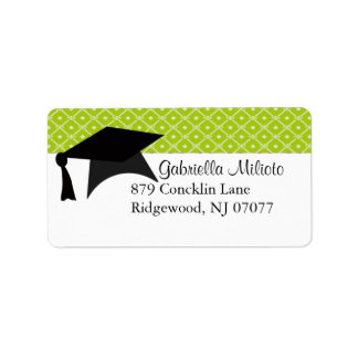 Lime Green Graduation Cap Label