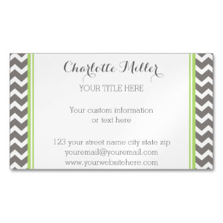 Lime Green Grey Chevron Magnetic Business Card